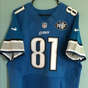 Calvin Johnson Nike Elite Lions Jersey Rare Patch